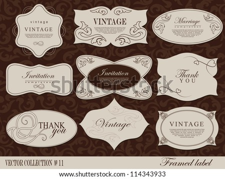 framed label. Design template, card can be used banners, invitation ...