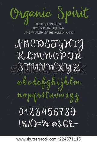 Retro vector \'Organic Spirit\' brush script lettering font, handwritten calligraphic alphabet