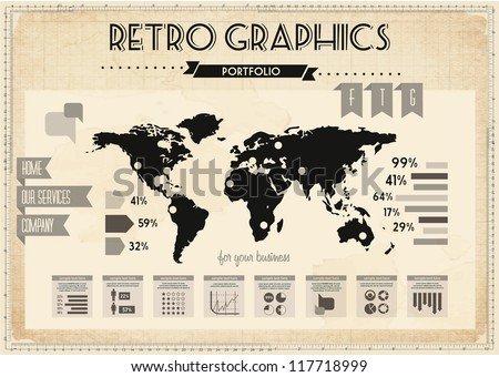retro vector set of infographic elements for high quality graphic projects