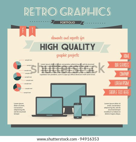 retro vector set of infographic elements for your documents and reports with electric devices