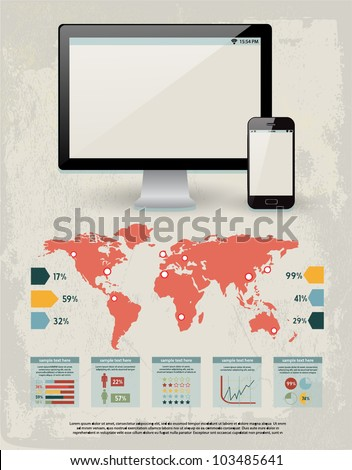 retro vector set of infographic elements for your documents and reports with glossy monitor screen and mobile phone device