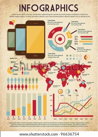 retro vector set of infographic