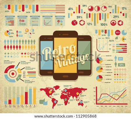 retro vector set of infographic elements for your documents and reports with touchscreen mobile phone devices