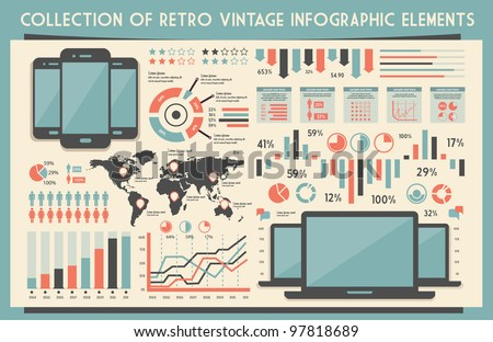 retro vector set of infographic elements for your documents and reports with touchscreen mobile phone and notebook devices