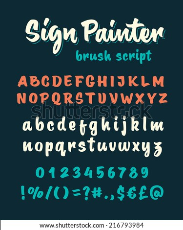 Retro vector 'sign painter' brush script lettering font, handwritten calligraphic alphabet