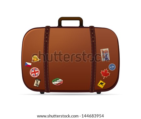 Retro vector suitcase with stickers on it isolated on white