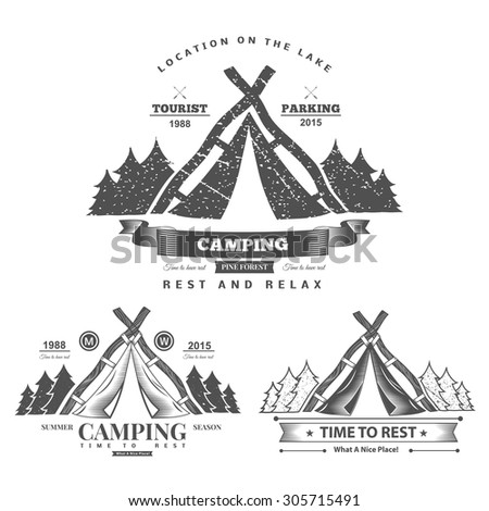 Retro vector vintage camp label and logo graphics. Camping outdoor, adventure and explorer