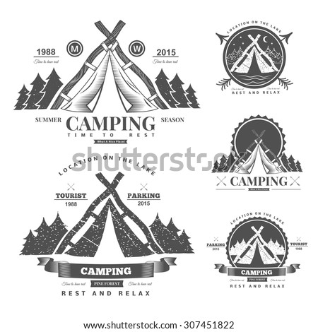 Retro vector vintage camp label and logo graphics. Camping outdoor, adventure and explorer.