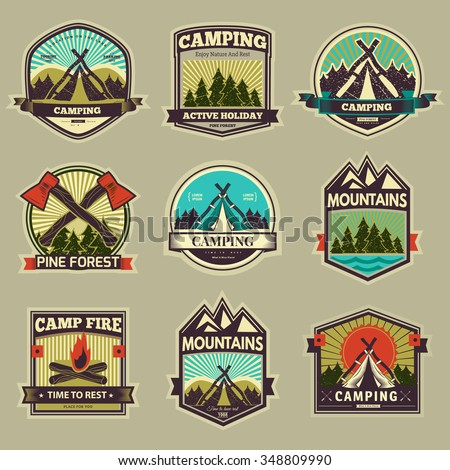 retro vector vintage camp label ...
