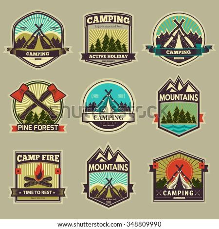 retro vector vintage camp label ...