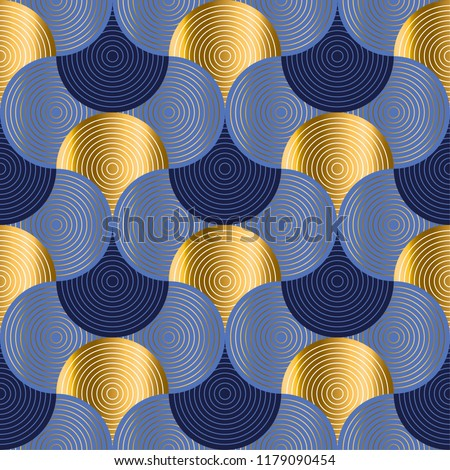 Retro vibes luxury water waves seamless pattern. Blue sea water wave background in art deco style. vector illustration. element for design.