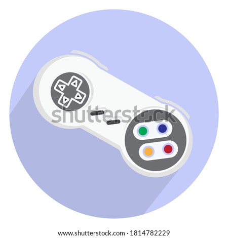 Retro video game controller or classical joystick flat icon isolated on round background