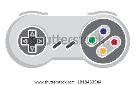 Retro video game controller or joystick flat color icon for apps or website