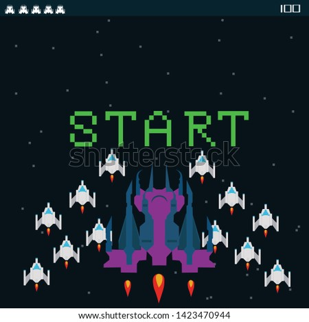 Retro video game, screen, arcade space warships, shooting, background map, vector graphic design illustration. 16 bit, 8 bit . Space place. Battles under the stars. Old computer games.