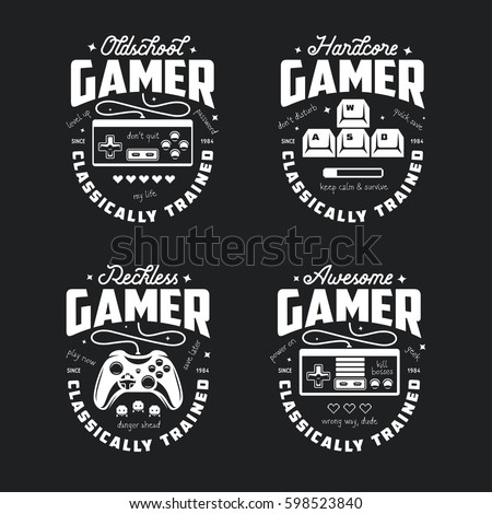 Retro video games related t-shirt design. Oldschool gamer text. Monochrome joystick set. Quotes about gaming. Pixel hearts and monsters. Vector vintage illustration.