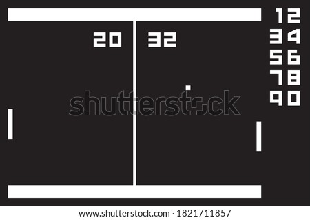 Retro videogame clock. Vector illustration on black background