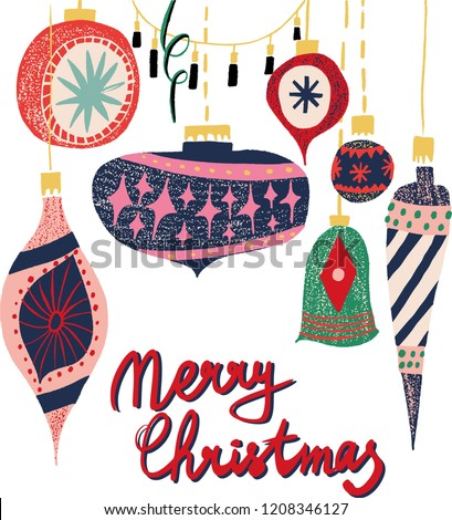 Retro vintage art beautiful artistic Scandinavian graphic lovely winter holiday new year collage pattern Christmas tree toys vector hand illustration. Perfect for cards, textile, wallpaper, background