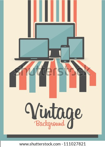 retro vintage background with electric devices