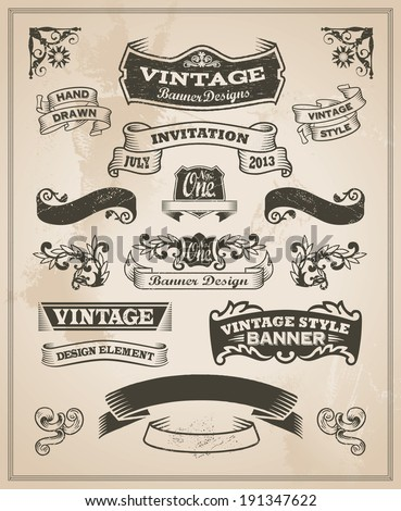 stock-vector-retro-vintage-banner-and-ribbon-set-vector-illustration-design-elements-with-textured-background