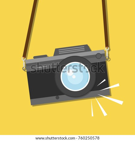 Retro, vintage camera, flat style design. Photo shooting. Vector illustration