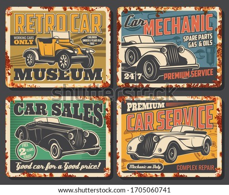 Retro vintage cars garage station and restoration rusty metal plates. Rarity and old vehicles museum, luxury limousine sale, spare parts shop and mechanic repair vector posters Сток-фото ©