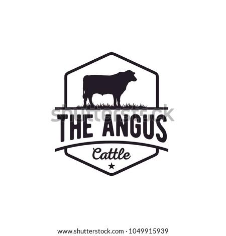 Retro Vintage Cattle Angus Beef Emblem Label Livestock logo design vector