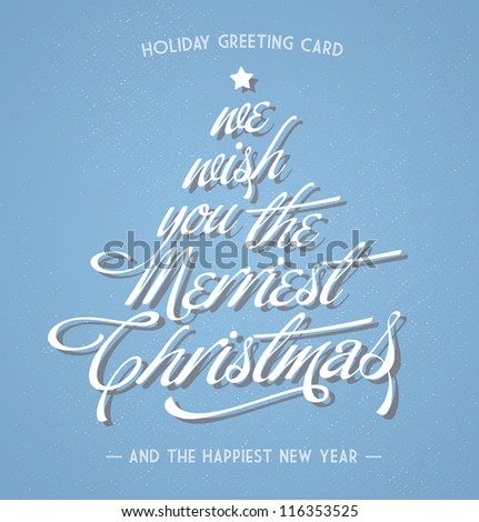 retro vintage christmas greeting card with typography