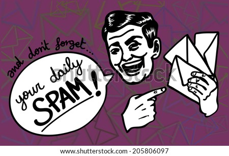 Retro vintage clipart: Spam happens! Excited spammer man gaily reminds you about the junk mail jamming your inbox.