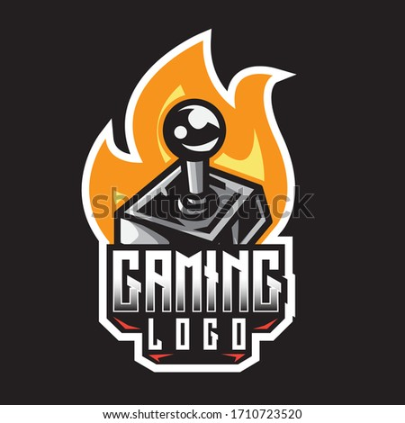 Retro vintage fiery black game controller esport vector logo design template