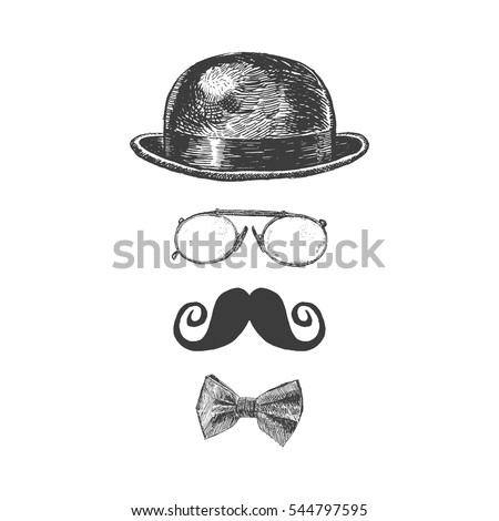 Retro, vintage gentleman set. Bowler hat, moustache, eye-glasses and bow tie. Gentlemen icon collection. Hand drawn vector illustration ストックフォト ©