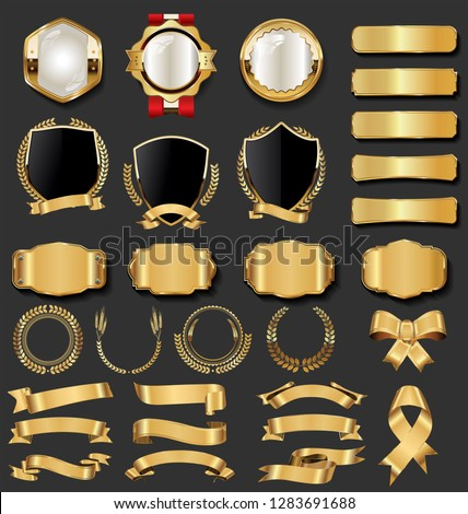 Retro vintage golden badges and labels collection #1283691688