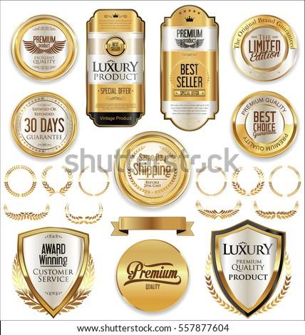 retro vintage golden badges and