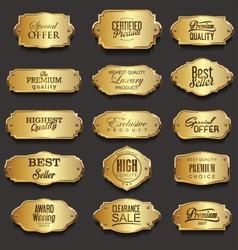 Retro vintage golden frames sale collection vector illustration
