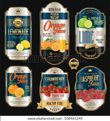 Retro vintage golden labels for organic fruit product