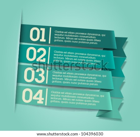 Retro / vintage green ribbons / good for web banners and infographics