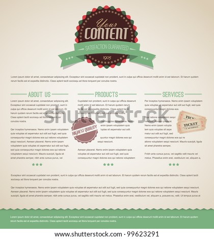 Retro vintage grunge web page template - green version