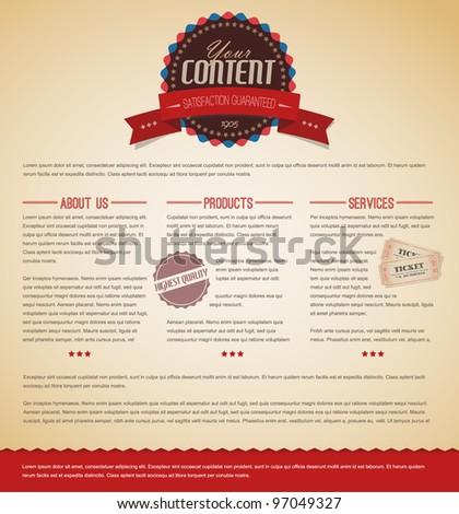 Retro vintage grunge web page template - red version