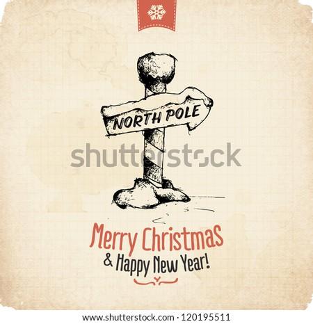 Retro Vintage Hand Drawn Christmas Greeting Card
