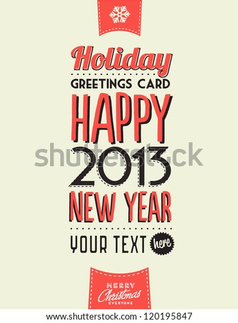 Retro Vintage Happy New Year Background with Typography