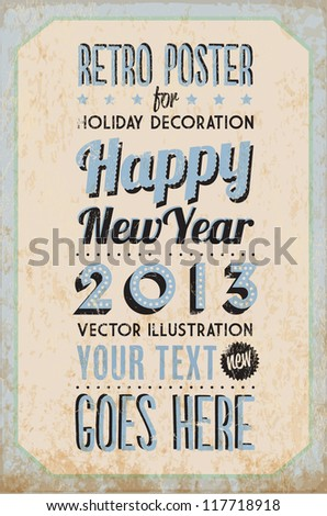Retro Vintage Happy New Year Tin Sign with Typography and Grunge Effect