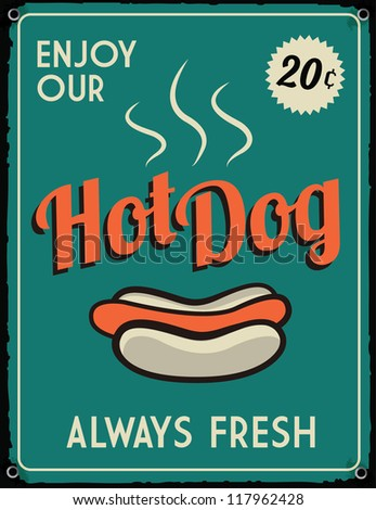 Retro Vintage Hotdog Tin Sign with Grunge Effect