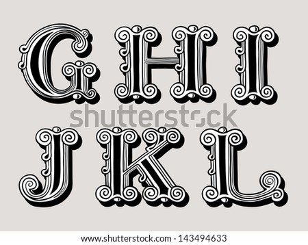 Retro vintage illustration of alphabet letters in caps, the G, H, I, J, K and L in the antiqua design in black and white over a sepia background