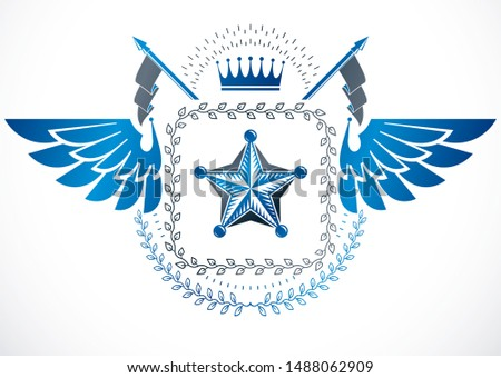 Retro vintage Insignia made with vector design elements like royal crown and eagle wings