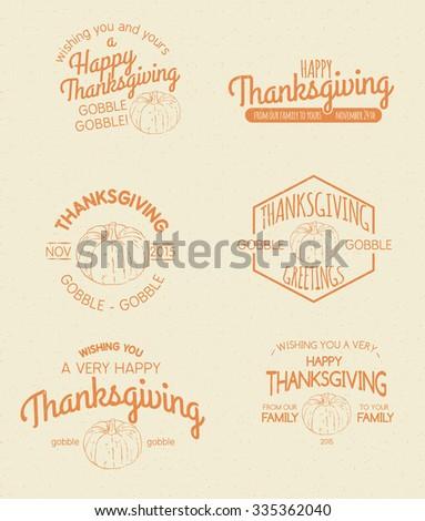 Retro Vintage Insignias for Thanksgiving