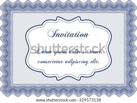 Retro vintage invitation. Border, frame.With great quality guilloche pattern. Lovely design.