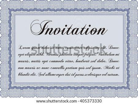 Retro vintage invitation. Retro design. With guilloche pattern.