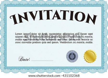 Retro vintage invitation template.