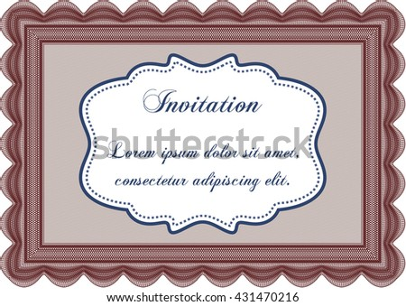 Retro vintage invitation template. Sophisticated design. With great quality guilloche pattern.