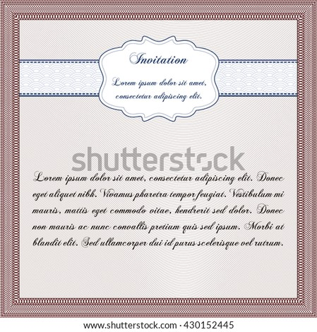 Retro vintage invitation. With great quality guilloche pattern. Retro design.