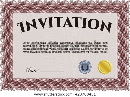 Retro vintage invitation. With great quality guilloche pattern. Sophisticated design.